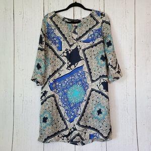 Zara Paisley Mini Tunic Keyhole Dress XL